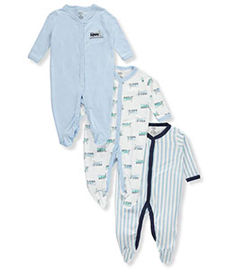 "Luvable Friends Baby Boys' ""All Aboard"" 3-Pack Footed Coveralls - CookiesKids.com"