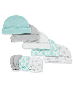 "Luvable Friends Baby Boys' ""Elephant"" 8-Piece Cap & Scratch Mitten Set - CookiesKids.com"