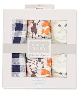 Hudson Baby 3-Pack Swaddle Blankets - CookiesKids.com