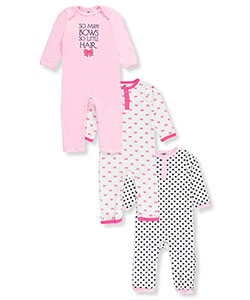 Hudson Baby Baby Girls' 3-Pack Coveralls - CookiesKids.com