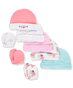 Hudson Baby Baby Girls' 8-Pack Caps & Scratch Mitts Set - CookiesKids.com