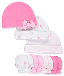 Hudson Baby Baby Girls' 7-Piece Caps & Mitts Set - CookiesKids.com