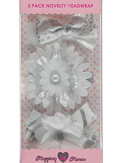 "Stepping Stones Baby Girls' ""Metallic Prints"" 3-Pack Novelty Headwraps - CookiesKids.com"