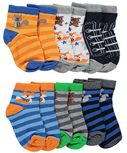 "Vitamins Baby Baby Boys' ""Animal Stars"" 6-Pack Crew Socks - CookiesKids.com"