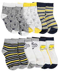 "Vitamins Baby Baby Boys' ""Elephant Peace"" 6-Pack Crew Socks - CookiesKids.com"