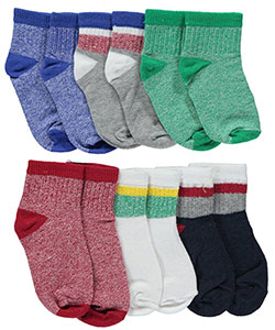 "Vitamins Baby Baby Boys' ""Heathered & Striped"" 6-Pack Crew Socks - CookiesKids.com"