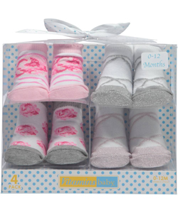 "Vitamins Baby Baby Girls' ""Polka Dot Party"" 4-Pack Sock Booties - CookiesKids.com"