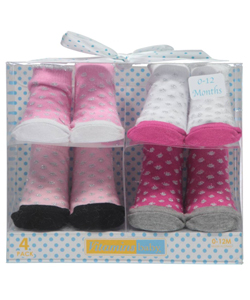 "Vitamins Baby Baby Girls' ""Rose Ballet"" 4-Pack Sock Booties - CookiesKids.com"
