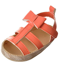 "First Steps by Stepping Stones Baby Girls' ""Bow & Raffia"" Sandal Booties - CookiesKids.com"