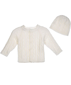 Baby Dove Baby Boys' Unisex Cable Knit Cardigan & Beanie Set - CookiesKids.com