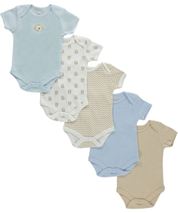 "Rene Rofe Baby Boys' ""Monkeys & Zigzags"" 5-Pack Bodysuits - CookiesKids.com"
