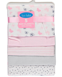 "Bon Bebe ""Spotted Butterflies"" 5-Pack Receiving Blankets - CookiesKids.com"
