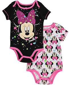"Minnie Mouse Baby Girls' ""Painted Minnie"" 2-Pack Bodysuits - CookiesKids.com"