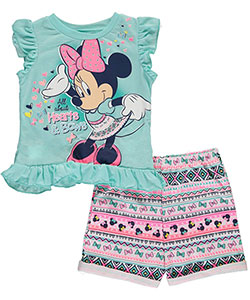 "Minnie Mouse Little Girls' Toddler ""All About Hearts & Bows"" 2-Piece Outfit (Sizes 2T – 4T) - CookiesKids.com"