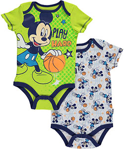 "Mickey Mouse Baby Boys' ""Play Hard"" 2-Pack Bodysuits - CookiesKids.com"