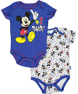"Mickey Mouse Baby Boys' ""#1 Dude"" 2-Pack Bodysuits - CookiesKids.com"