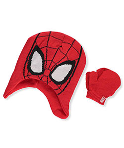 Spider-Man Boys' Earflap Beanie & Mittens Set (Youth One Size) - CookiesKids.com