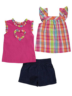 "Famous Brand Little Girls' ""Crimped Heart"" 3-Piece Set (Sizes 4 – 6X) - CookiesKids.com"