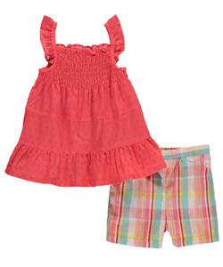 "Park Bench Kids Little Girls' Toddler ""Shirred Clip-Spot"" 2-Piece Outfit (Sizes 2T – 4T) - CookiesKids.com"