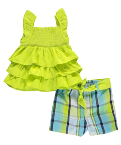 "Kidgets Little Girls' Toddler ""Stitched Ruffles"" 2-Piece Outfit (Sizes 2T – 4T) - CookiesKids.com"