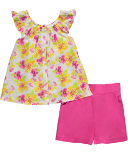 "Famous Brand Little Girls' ""Floral Flounce"" 2-Piece Outfit (Sizes 4 – 6X) - CookiesKids.com"