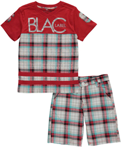 "Blac Label Big Boys' ""Big Plaid Panel"" 2-Piece Outfit (Sizes 8 – 20) - CookiesKids.com"