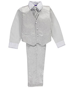 "James Morgan Little Boys' Toddler ""Stitch Collar"" 4-Piece Vest Set (Sizes 2T – 4T) - CookiesKids.com"