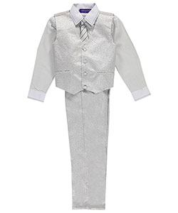 "James Morgan Big Boys' ""Stitch Collar"" 4-Piece Vest Set (Sizes 8 – 20) - CookiesKids.com"