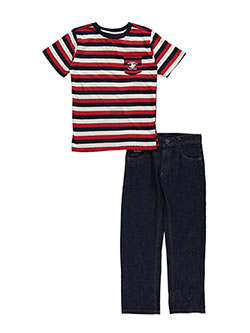 "Beverly Hills Polo Club Big Boys' ""Sail Stripe"" 2-Piece Outfit (Sizes 8 – 20) - CookiesKids.com"