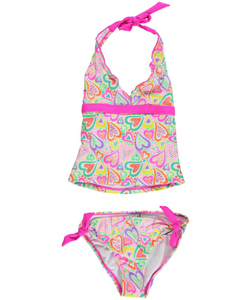 "Breaking Waves Big Girls' ""Heart Potpourri"" 2-Piece Tankini (Sizes 7 – 16) - CookiesKids.com"