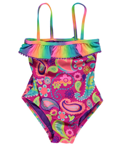 "Breaking Waves Little Girls' ""Retro Swim"" 1-Piece Swimsuit (Sizes 4 – 6X) - CookiesKids.com"