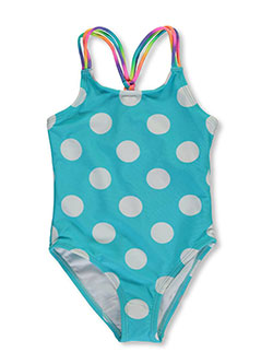 "Breaking Waves Little Girls' ""Free Swim"" 1-Piece Swimsuit (Sizes 4 – 6X) - CookiesKids.com"