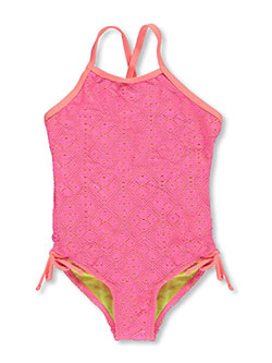 "Breaking Waves Little Girls' ""Beach Sunset"" 1-Piece Swimsuit (Sizes 4 – 6X) - CookiesKids.com"