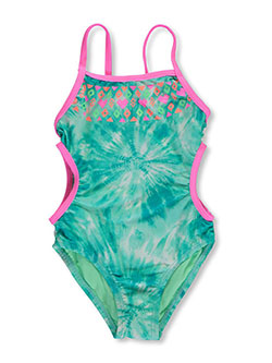 "Breaking Waves Little Girls' ""Ride the Waves"" 1-Piece Swimsuit (Sizes 4 – 6X) - CookiesKids.com"