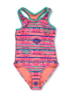 "Breaking Waves Little Girls' ""Seashells"" 1-Piece Swimsuit (Sizes 4 – 6X) - CookiesKids.com"