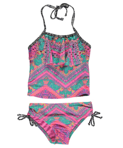 "Breaking Waves Little Girls' ""Swim Daze"" 2-Piece Tankini (Sizes 4 – 6X) - CookiesKids.com"