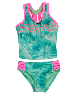 "Breaking Waves Little Girls' ""Pool Party"" 2-Piece Tankini (Sizes 4 – 6X) - CookiesKids.com"
