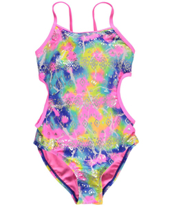 "Breaking Waves Big Girls' ""Sand Castles"" 1-Piece Swimsuit (Sizes 7 – 16) - CookiesKids.com"