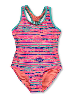 "Breaking Waves Big Girls' ""Seashells"" 1-Piece Swimsuit (Sizes 7 – 16) - CookiesKids.com"