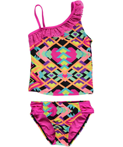 "Breaking Waves Big Girls' ""Art Fair"" 2-Piece Tankini (Sizes 7 – 16) - CookiesKids.com"