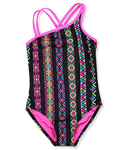 Breaking Waves Girls' 1-Piece Swimsuit - CookiesKids.com