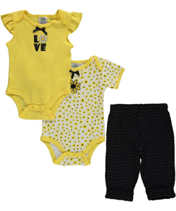 "Baby Gear Baby Girls' ""Daisies"" 3-Piece Layette Set - CookiesKids.com"
