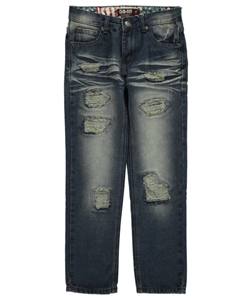 "GS-115 Big Boys' ""Whiskered Tear"" Jeans (Sizes 8 – 20) - CookiesKids.com"