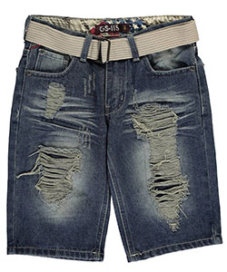 "GS-115 Big Boys' ""Sanford"" Belted Denim Shorts (Sizes 8 – 20) - CookiesKids.com"