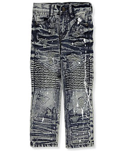 "GS-115 Little Boys' ""Whiskered Paint Splatter"" Jeans (Sizes 4 – 7) - CookiesKids.com"