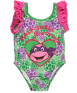"TMNT Little Girls' Toddler ""Half-Shell Heartbreaker"" 1-Piece Swimsuit (Sizes 2T – 4T) - CookiesKids.com"
