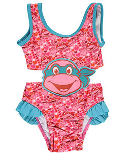 "TMNT Little Girls Toddler ""Turtle Love"" 1-Piece Swimsuit (Sizes 2T – 4T) - CookiesKids.com"