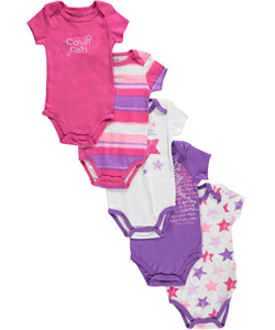 "Calvin Klein Baby Girls' ""Star Stamp"" 5-Pack Bodysuits - CookiesKids.com"