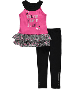 "Calvin Klein Little Girls' Toddler ""Where the Butterflies Go"" 2-Piece Outfit (Sizes 2T – 4T) - CookiesKids.com"