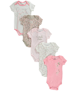 "Calvin Klein Baby Girls' ""Branches & Leaves"" 5-Pack Bodysuits - CookiesKids.com"